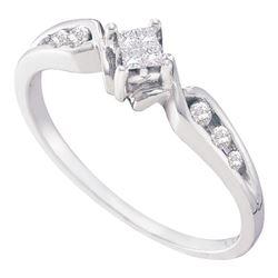0.15 CTW Princess Diamond Solitaire Bridal Engagement Ring 14KT White Gold - REF-24W2K