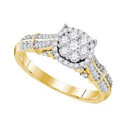 0.69 CTW Diamond Flower Cluster Bridal Engagement Ring 10KT Yellow Gold - REF-72N7F
