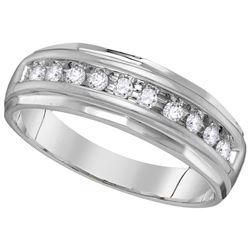 0.25 CTW Mens Diamond Single Row Grooved Wedding Ring 10KT White Gold - REF-24K2W