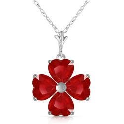 Genuine 3.6 ctw Ruby Necklace Jewelry 14KT White Gold - REF-52T2A