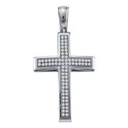 0.25 CTW Diamond Cross Pendant 10KT White Gold - REF-26K3W