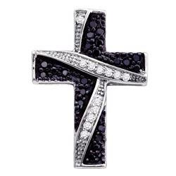 0.25 CTW Black Color Diamond Asymmetric Cross Pendant 10KT White Gold - REF-14Y9X