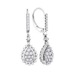 0.90 CTW Diamond Teardrop Cluster Dangle Earrings 14KT White Gold - REF-75W2K