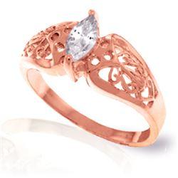 Genuine 0.20 CTW White Topaz Ring Jewelry 14KT Rose Gold - REF-47Y2F