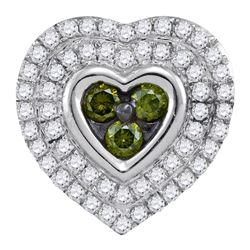 0.50 CTW Green Color Diamond Heart Cluster Pendant 10KT White Gold - REF-28M4H