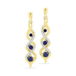 0.50 CTW Created Blue Sapphire Cascade Dangle Earrings 10KT Yellow Gold - REF-19K4W