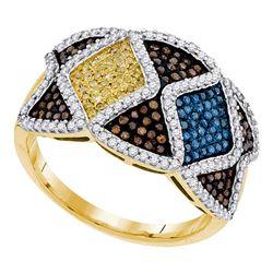 0.75 CTW Multicolor Diamond Fashion Ring 10KT Yellow Gold - REF-75N2F