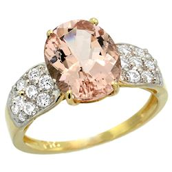 Natural 3.25 ctw morganite & Diamond Engagement Ring 14K Yellow Gold - REF-82M6H