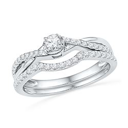 0.33 CTW Diamond Bridal Wedding Engagement Ring 10KT White Gold - REF-30X2Y