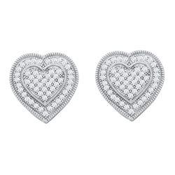 0.33 CTW Diamond Heart Earrings 10KT White Gold - REF-38W9K