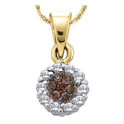 0.25 CTW Cognac-brown Color Flower Cluster Diamond Pendant 14k Yellow Gold - REF-19X4Y