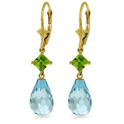 Genuine 11 ctw Blue Topaz & Peridot Earrings Jewelry 14KT Yellow Gold - REF-39M3T