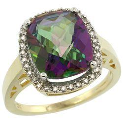 Natural 5.28 ctw Mystic-topaz & Diamond Engagement Ring 10K Yellow Gold - REF-41H2W