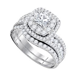 2.01 CTW Princess Diamond Bridal Engagement Ring 14KT White Gold - REF-277F4N