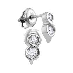 0.25 CTW Diamond 2-stone Hearts Together Stud Earrings 14KT White Gold - REF-30N2F