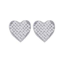 0.10 CTW Diamond Heart Screwback Earrings 10KT White Gold - REF-10H5M