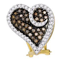1.04 CTW Brown Color Diamond Heart Earrings 10KT White Gold - REF-52N4F