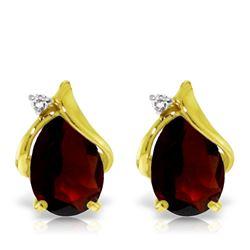 Genuine 4.06 ctw Garnet & Diamond Earrings Jewelry 14KT Yellow Gold - REF-49T3A