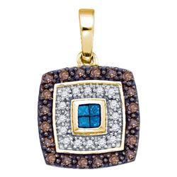 0.40 CTW Blue Cognac-brown Color Diamond Square Pendant 10KT Yellow Gold - REF-26Y9X