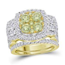 3.04 CTW Yellow Diamond Bridal Engagement Ring 14KT Yellow Gold - REF-359K9W