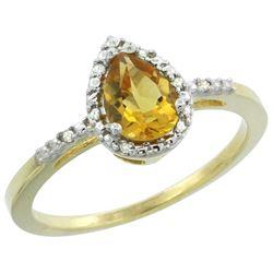 Natural 1.53 ctw citrine & Diamond Engagement Ring 10K Yellow Gold - REF-18K9R