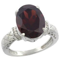 Natural 5.53 ctw Garnet & Diamond Engagement Ring 14K White Gold - REF-68H8W