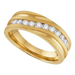 0.25 CTW Mens Diamond Channel-set Anniversary Ring 10KT Yellow Gold - REF-41F2N