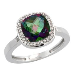 Natural 3.94 ctw Mystic-topaz & Diamond Engagement Ring 14K White Gold - REF-38Y3X