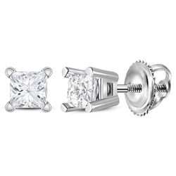 0.20 CTW Princess Diamond Solitaire Stud Earrings 14KT White Gold - REF-19H4M