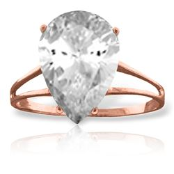 Genuine 5 ctw White Topaz Ring Jewelry 14KT Rose Gold - REF-34A3K