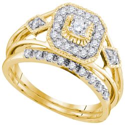 0.33 CTW Diamond Bridal Wedding Engagement Ring 10KT Yellow Gold - REF-41H9M