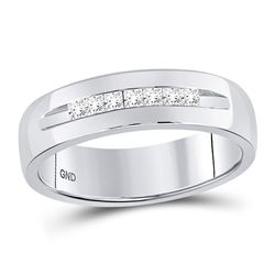 0.25 CTW Mens Princess Channel-set Diamond Wedding Ring 14KT White Gold - REF-75H2M