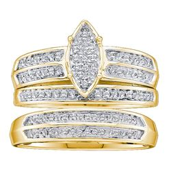 0.28 CTW His & Hers Diamond Cluster Matching Bridal Ring 10KT Yellow Gold - REF-32W9K