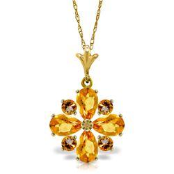Genuine 2.43 ctw Citrine Necklace Jewelry 14KT Yellow Gold - REF-29Z7N