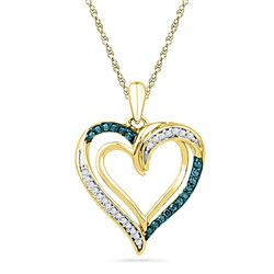0.16 CTW Blue Color Diamond Heart Love Pendant 10KT Yellow Gold - REF-18N2F