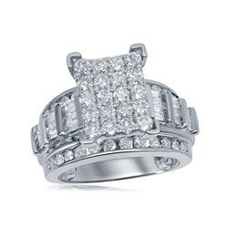 1.96 CTW Diamond Cluster Bridal Engagement Ring 10KT White Gold - REF-134F9N
