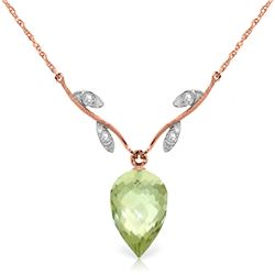 Genuine 9.52 ctw Green Amethyst & Diamond Necklace Jewelry 14KT Rose Gold - REF-36R3P