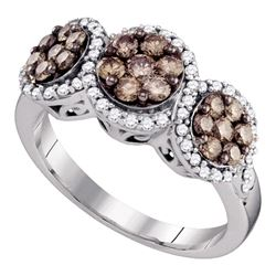 1.05 CTW Cognac-brown Color Diamond Cluster Ring 10KT White Gold - REF-67W4K