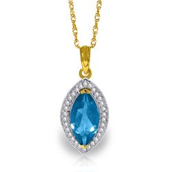 Genuine 2.4 ctw Blue Topaz & Diamond Necklace Jewelry 14KT Yellow Gold - REF-62V2W