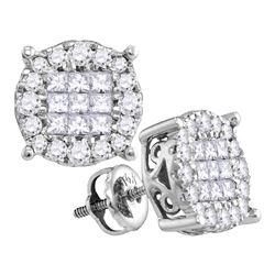 1 CTW Princess Diamond Soleil Cluster Earrings 14KT White Gold - REF-97W4K
