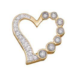 0.15 CTW Diamond Heart Outline Pendant 10KT Yellow Gold - REF-12H2M