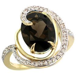 Natural 6.53 ctw smoky-topaz & Diamond Engagement Ring 14K Yellow Gold - REF-72K8R