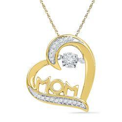 0.10 CTW Diamond Mom Mother Heart Love Pendant 10KT Yellow Gold - REF-19N4F