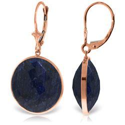 Genuine 46 ctw Sapphire Earrings Jewelry 14KT Rose Gold - REF-62Y3F