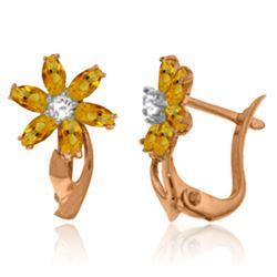 Genuine 1.10 ctw Citrine & Diamond Earrings Jewelry 14KT Rose Gold - REF-36H3X