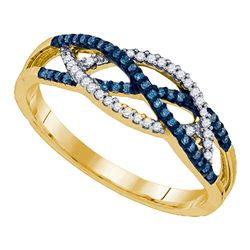 0.20 CTW Blue Color Diamond Crossover Ring 10KT Yellow Gold - REF-22W4K