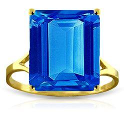 Genuine 7 ctw Blue Topaz Ring Jewelry 14KT Yellow Gold - REF-44F3Z