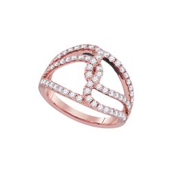 0.83 CTW Diamond Open Woven Strand Ring 18KT Rose Gold - REF-142N4F