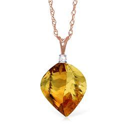 Genuine 11.80 ctw Citrine & Diamond Necklace Jewelry 14KT Rose Gold - REF-30N2R