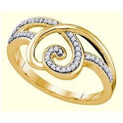 0.15 CTW Diamond Heart Love Ring 10KT Yellow Gold - REF-20Y9X